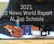 2021 US News Top Schools with Grissom, New Century, and Huntsville High Logos