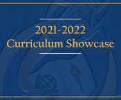 HCS Logo Embossed on Blue Background, Text Reads 2021-22 Curriculum Showcase