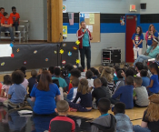Students, Faculty, and District stakeholders participate in the ASFL Autism Awareness program.