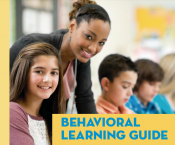 Teacher with Students, Text: Behavioral Learning Guide