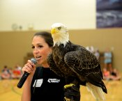 Laura Sterbens holding the real-life Challenger Eagle