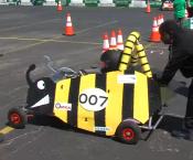 Greenpower goblin race car built to look like a bumblebee.