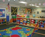 Brightly lit Kindergarten classroom full of colors