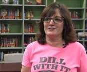 "Mrs Jennifer Dill being interviewed by ETV wearing a shirt that says ""Just Dill With It"""