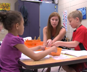 Ms. Christy Lang teaching first graders at Challenger Elementary