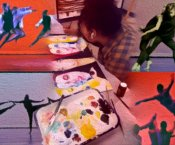 Students in various dance poses superimposed with a student painting, stylized as a painting itself