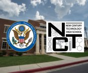 New Century and Blue Ribbon Logo set against a blurred background of New Century Technology High School building