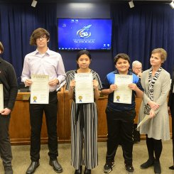 CMS Cyber Patriot Team Code Red  receives a board resolution from Superintendent Finley